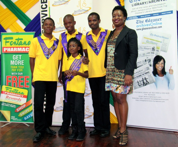 Latoya West-Blackwood with 2015 winners of the Jamaica Library Service National Reading Competition. Photo by the author, used with permission.