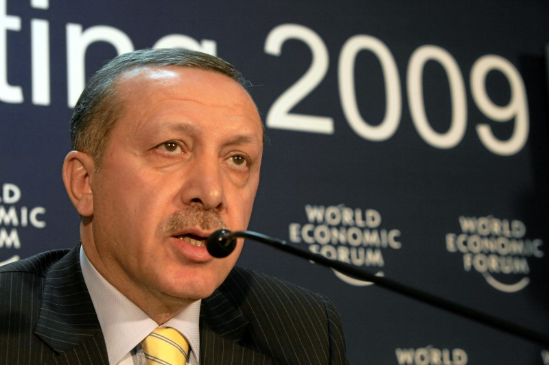 DAVOS-KLOSTERS/SWITZERLAND, 29JAN09 - Recep Tayyip Erdogan, Prime Minister of Turkey, gives a press conference after Erdogan had walk out of the session 'Gaza: The Case for Middle East Peace' at the Annual Meeting 2009 of the World Economic Forum in Davos, Switzerland, January 29, 2009. Copyright by World Economic Forum swiss-image.ch/Photo by Andy Mettler. Permission to reuse.