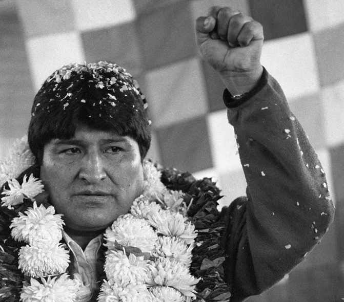 Evo Morales after his election in 2006. Photo by Jorgeuzon via Wikimedia Commons. Released to public domain.