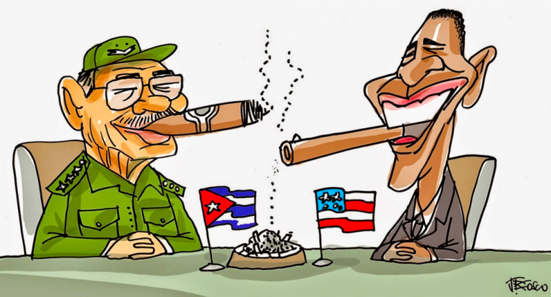 """Cuba and Obama reestablish relations."" Cartoon via Linhas Livres."
