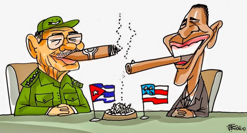 """""""Cuba and Obama reestablish relations."""" Cartoon via Linhas Livres."""
