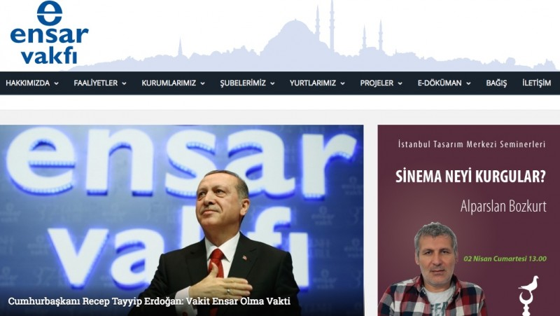 Screenshot from Ensar.org showing President Erdogan speaking at the foundation's 37th General Assembly Meeting on February 27, 2016.