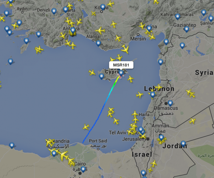 A screenshot from Flight Radar showing the hijacked flight MS181 at Larnaca Airport in Cyrus