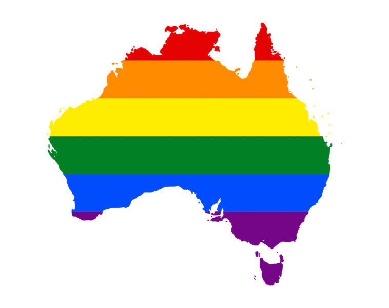 LGBT flag map of Australia. Photo and description from Wikimedia Commons (CC license)