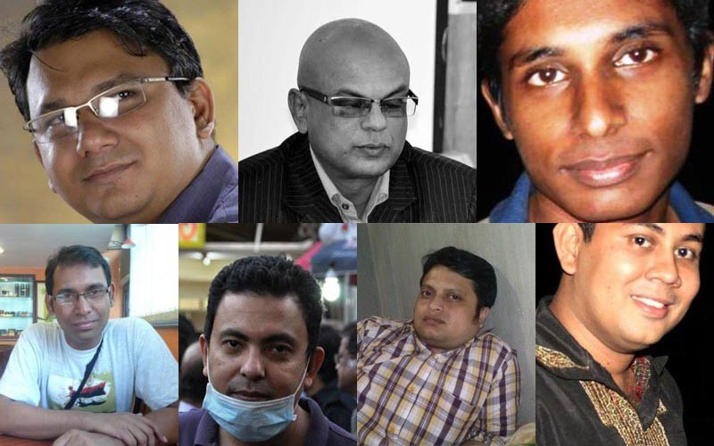 Some of the secular writers killed in recent years in Bangladesh. From top left clockwise: Faisal Arefin Dipan, Shafiul Islam, Oyasiqur Rahman Babu, Rajib Haider, Avijit Roy, Ananta Bijoy Das and Niloy Neel.