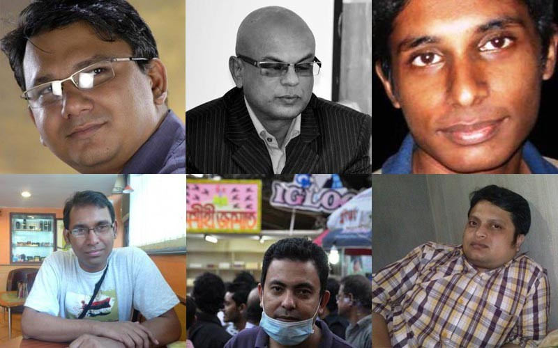 Some of the secular writers killed in recent years in Bangladesh. From top left clockwise: Faisal Arefin Dipan, Shafiul Islam, Oyasiqur Rahman Babu, Rajib Haider, Avijit Roy and Ananta Bijoy Das.