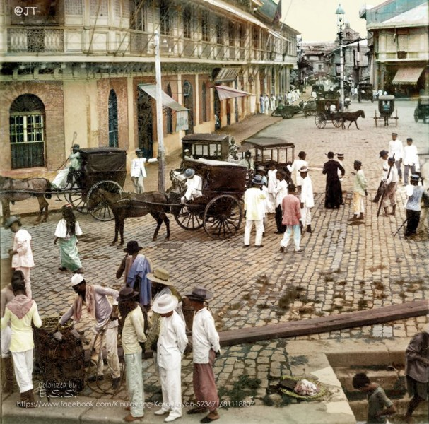 Binondo, an important religious and commercial center in old Manila. Image from the Facebook page of Kinulayang Kasaysayan, used with permission