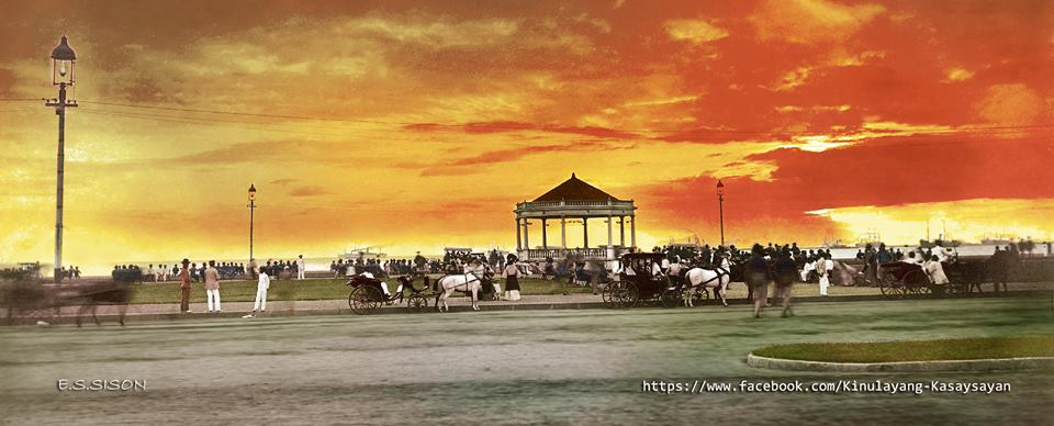 Luneta Park in the early 1900s. This place, then and now, is famous for its spectacular view of the Manila Bay sunset. Image from the Facebook page of Kinulayang Kasaysayan, used with permission
