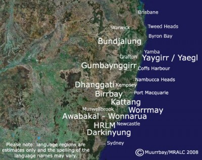 Map of the Many Rivers language region of NSW, Australia. Photo: Muurrbay Aboriginal Language and Culture Cooperative.