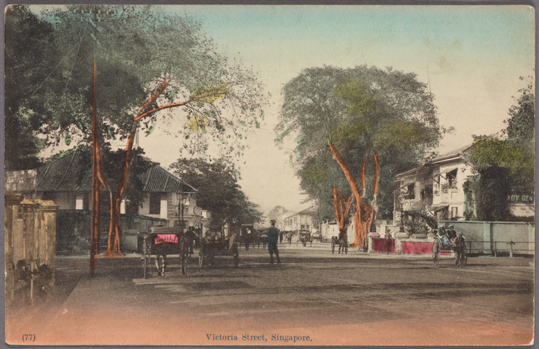 Victoria Street, Singapore. 1907-1918. Photo from The New York Public Library Digital Collections.