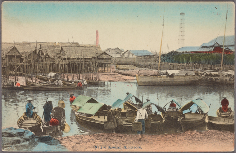 Native sampan, Singapore. 1907 - 1918. Photo from The New York Public Library Digital Collections.