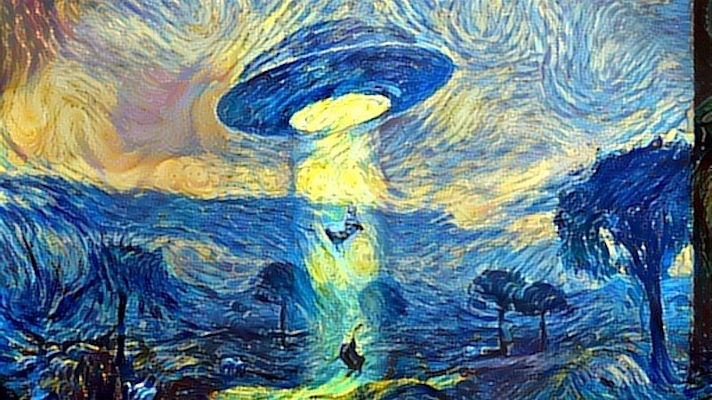 A sci-fi UFO landscape, styled after Van Gogh? Why not. Image from ostagram.ru.