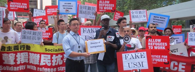 Refugee groups have been advocating for the right to work in order to relieve HK government's financial burden. They also criticized the newly implemented unified screening mechanism (USM) for faking fairness. Photo from refugee union's Facebook.
