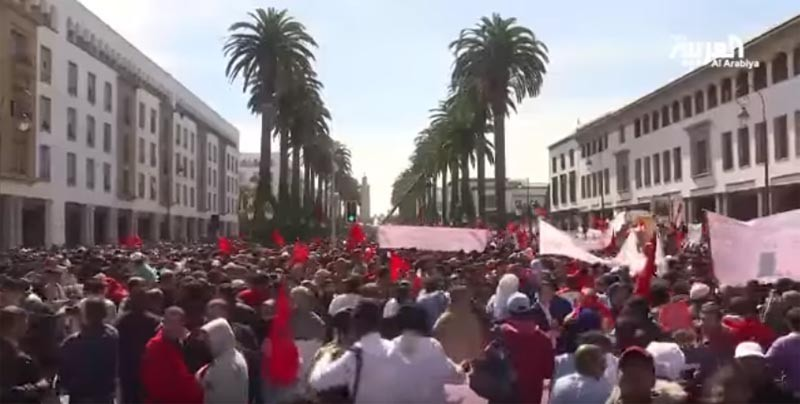 Screenshot of an Al Arabyia video report on the protests in Morocco.