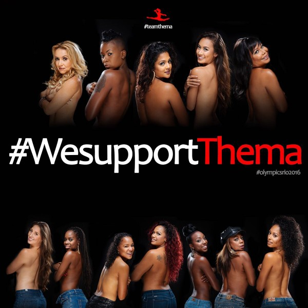 Local female celebrities in a campaign intended to show support for gymnast Thema Williams; widely shared on Facebook. Photo credit: Gary Jordan.