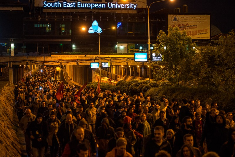 Protesters marching through an underpass in Skopje on April 25. Photo by Vančo Džambaski, CC BY-NC-SA.