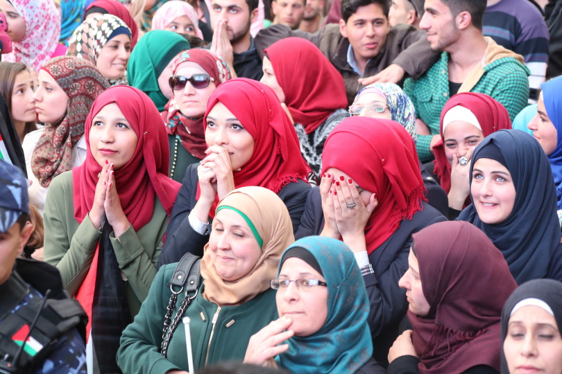 Supporters cheered Al Hroub from Ramallah Square, Ramallah, Palestine. (Source)
