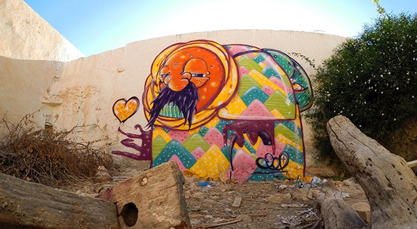 """Does age matter when it comes to love?"" A mural for the Djerbahood project in the village of Erriadh, Djerba, Tunisia 2014. Credit: Photo courtesy of Vajo"