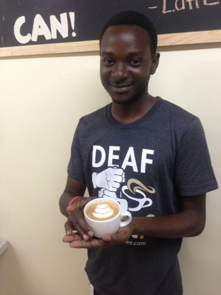 Carlyle Gabbidon, the chief barista. Photo by Deaf Can! Coffee, used with permission.