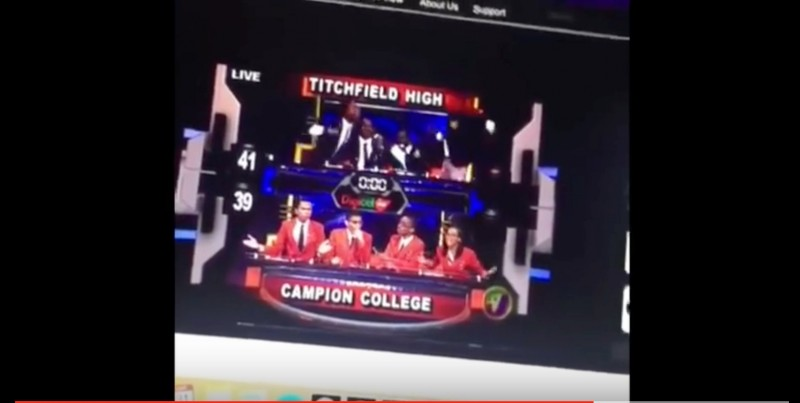 Screenshot of a YouTube video of Television Jamaica's Schools Challenge Quiz 2016 Finals, which pitted rural school Titchfield High against Kingston's Campion College.