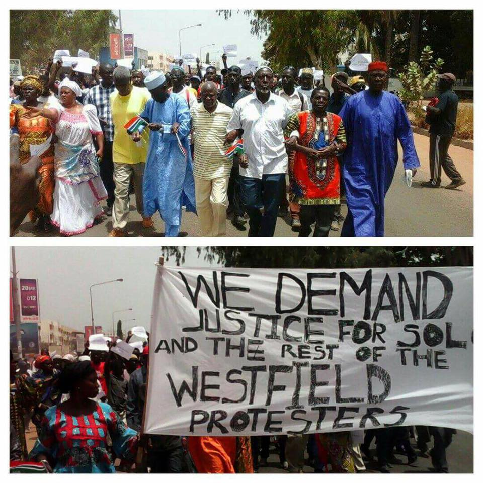 Protestors in Banjul in the Gambia. Photo taken from the main opposition party (UDP) Facebook page.