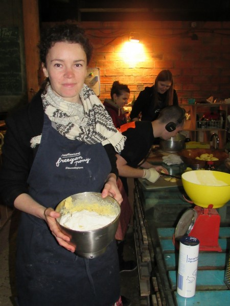 Freegan Pony pastry chef Frances Leech shows off shortbread cookies, in process. Credit: Adeline Sire