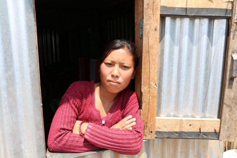 24-year-old Prapti Tamang's two-story house was destroyed in the 2015 earthquake. Credit: Sonia Narang