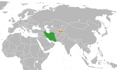 Ubicación geográfica de Irán (en verde) y Tayikistán (en naranja)