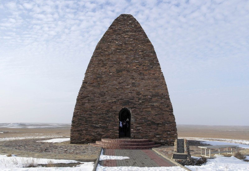 Kozy and Bayan's mausoleum in eastern Kazakhstan. Photo by Mikhail Antonov (Xeofox). Wikipedia image.