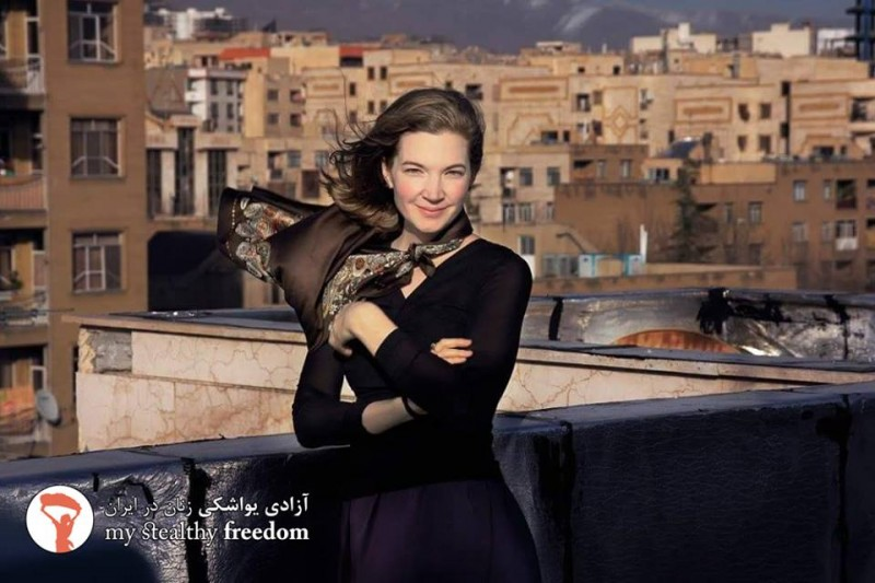 Maria from Germany on a rooftop in Iran. Photo from My Stealthy Freedom.