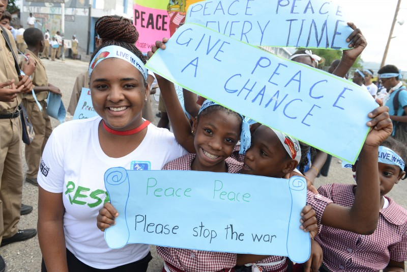 The 2014 Peace For Champs march in downtown Kingston. Photo courtesy Respect Jamaica, used with permission.
