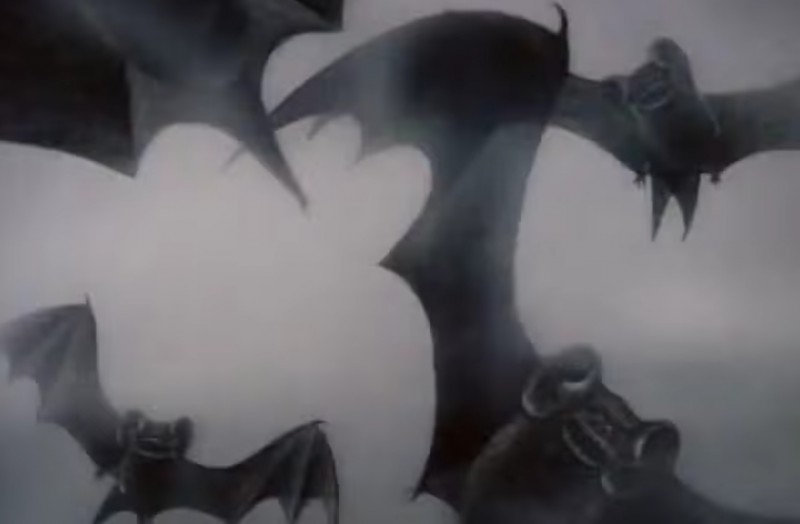 Bats! Screenshot from YouTube clip of 'Hedgehog in the Fog', uploaded by the user Russian Animation.