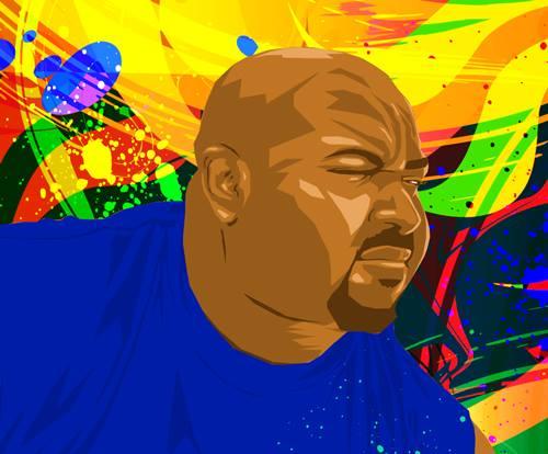 Movie-goer, Batman fan and visual artist Warren Le Platte; self-portrait. Image used with permission.