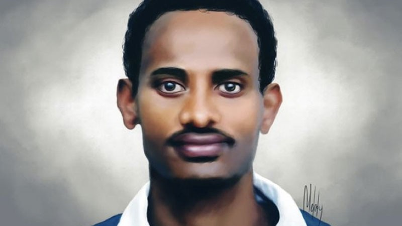 Photo-based graphic of Zelalem Workagegnehu by Melody Sundberg. Image used with permission.