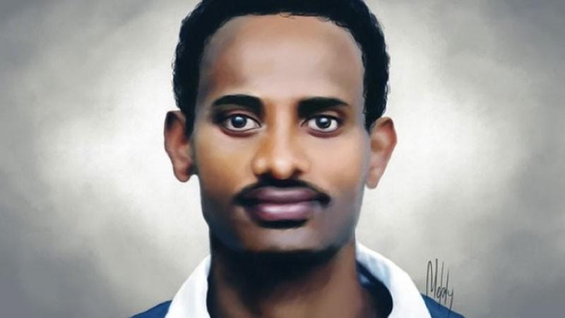 Portrait robot de M. Zelalem Workagegnehu à partir d'une photo, par Melody Sundberg. Image utilisée avec la permission.