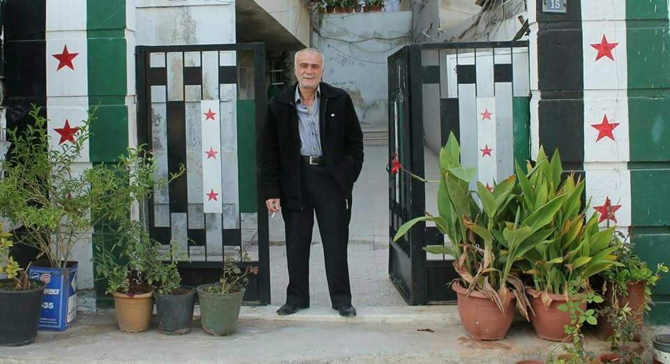 Abu Majid at his home in Aleppo. Photo from his daughter's Facebook page.