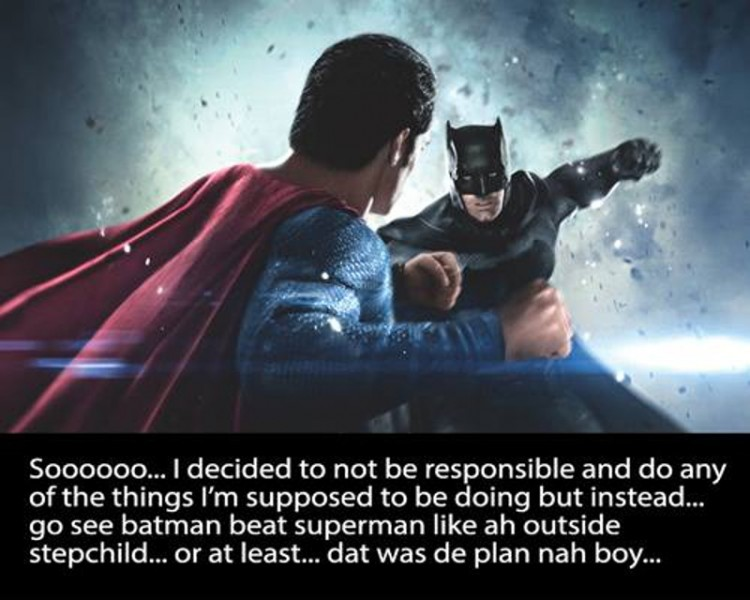 The first frame of the storytelling meme recounting a cinema-going experience to see the 2016 film Batman v Superman: Dawn of Justice. This and all other featured meme frames courtesy Warren Le Platte.