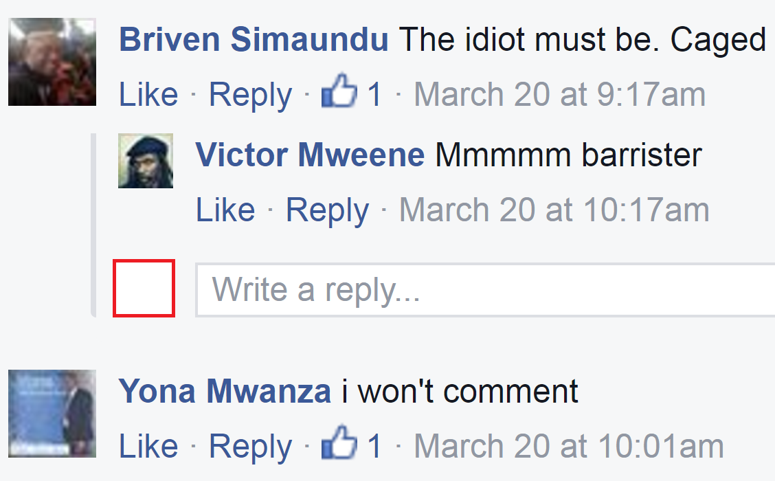 A screenshot of the Facebook comment that angered the deputy minister.