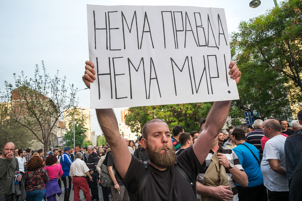Without justice, there's no peace was the main slogan of the protests in Skopje Photo by Vancho Dzambaski