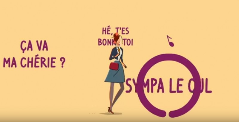 """'Hey sweetie, how are you?' 'You, you look hot.' 'Nice tail! """" Screenshot from the Hé' app by Stop Harcèlement de Rue, which simulates sexual harassment in the street."""