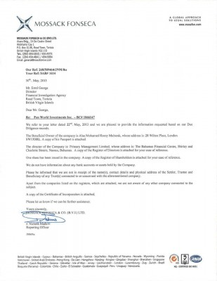 A letter leaked from the Mossack Fonseca on Alaa Mobarak's property in the British virgin islands known for tax havens.