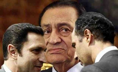 Former president Hosny Mubarak and his sons; Alaa and Gamal
