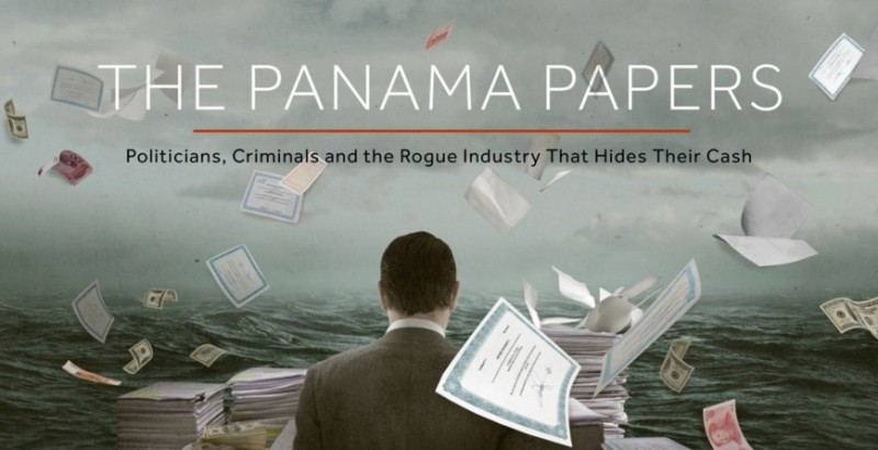 Screenshot of the Panama Papers investigation cover art.