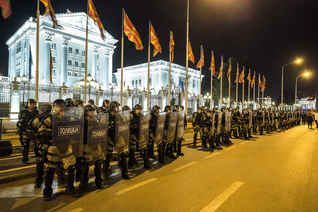 Anti-riot police guarding the Government building in Skopje, Macedonia.