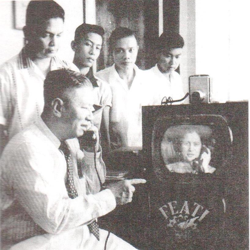 Filipino scientist Gregorio Y. Zara demonstrating his invention in 1954: 'telephone television'. Source: National Academy of Science and Technology Philippines / Facebook