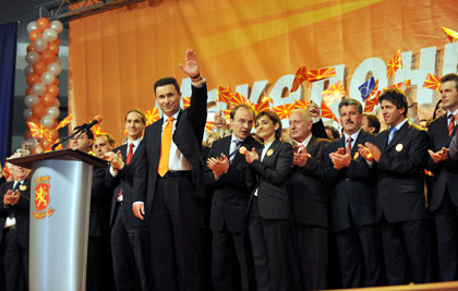 "VMRO-DPMNE publicity photo from 2006, part of their ""Orange"" phase, emulating the Ukrainian ""Color Revolution."