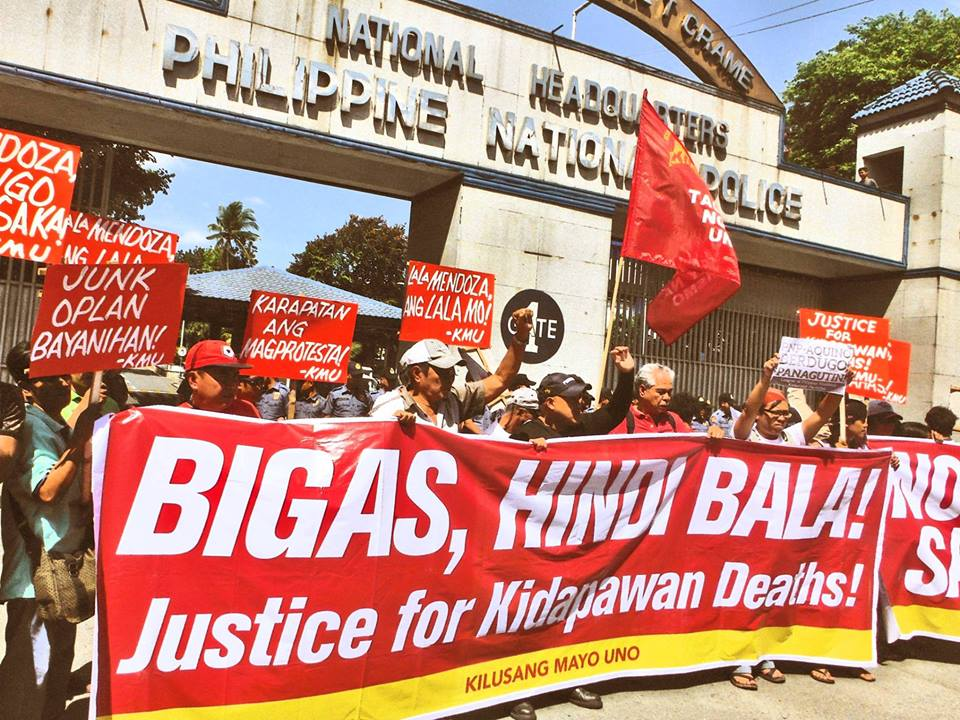 Workers in Manila held a protest in front of the national police headquarters to condemn the violent dismantling of protests in Kidapawan. Source: Kilusang Mayo Uno (May First Movement) / Facebook