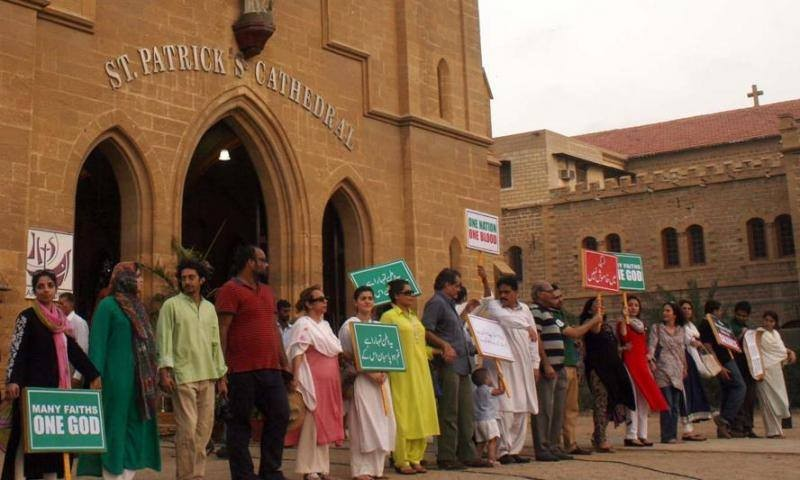 Protestors from a human chain around St Patrick's Cathedral in solidarity with the Christian Community after the 2013 attack. Photo via Pakistan For All Facebook Page