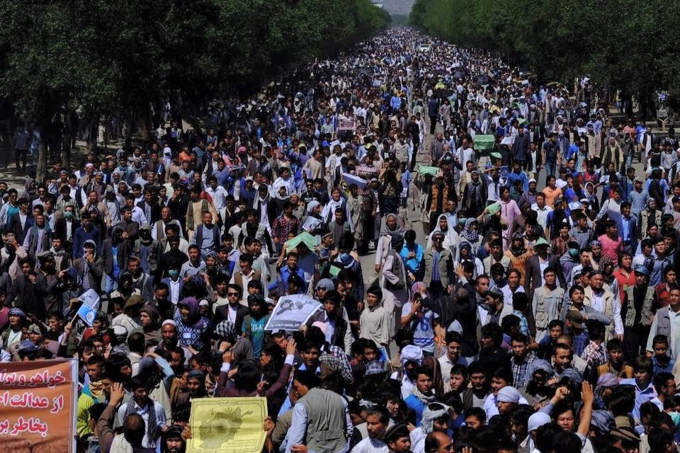 Afghan Hazaras massive demonstration in Kabul on May 16, 2016 protesting TUTAP's route change. Shared by the Republic of Silence via its official Facebook page