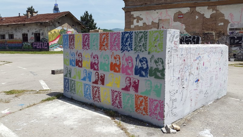 Stencils near the David Bowie mural in Sarajevo. Photo by Filip Stojanovski, CC BY.